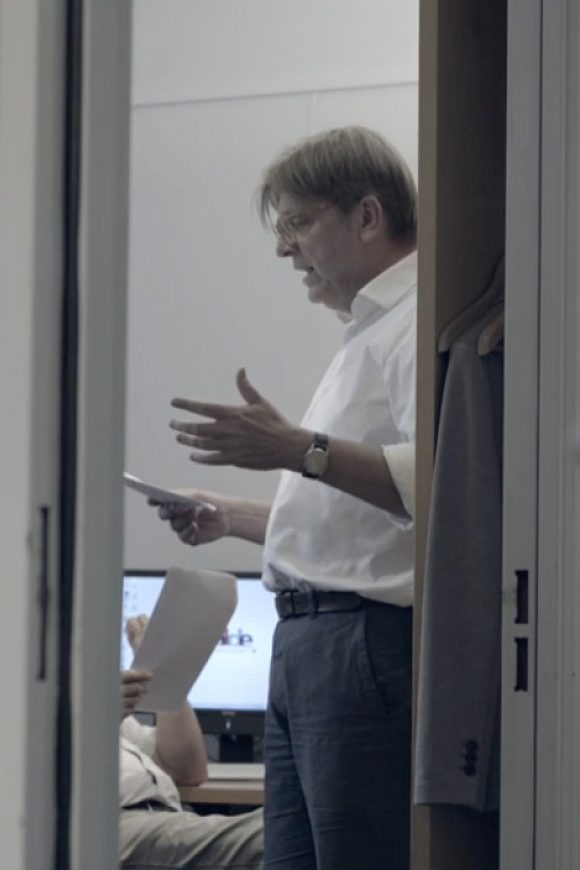 Verhofstadt preparing speech