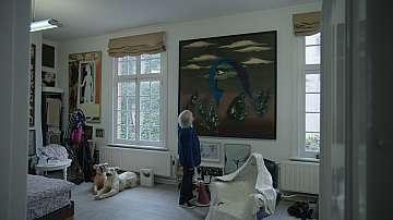 Adriaan voor schilderij Jan Cox